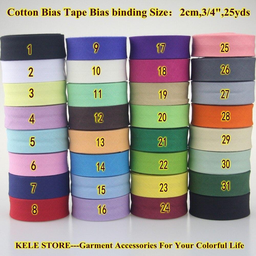 Ruban de polarisation 100% coton, dimension de biais 20 mm, largeur 3/4 pouces, 25 yards/lot, matériel à coudre, fait à la main, outil de bricolage, livraison gratuite