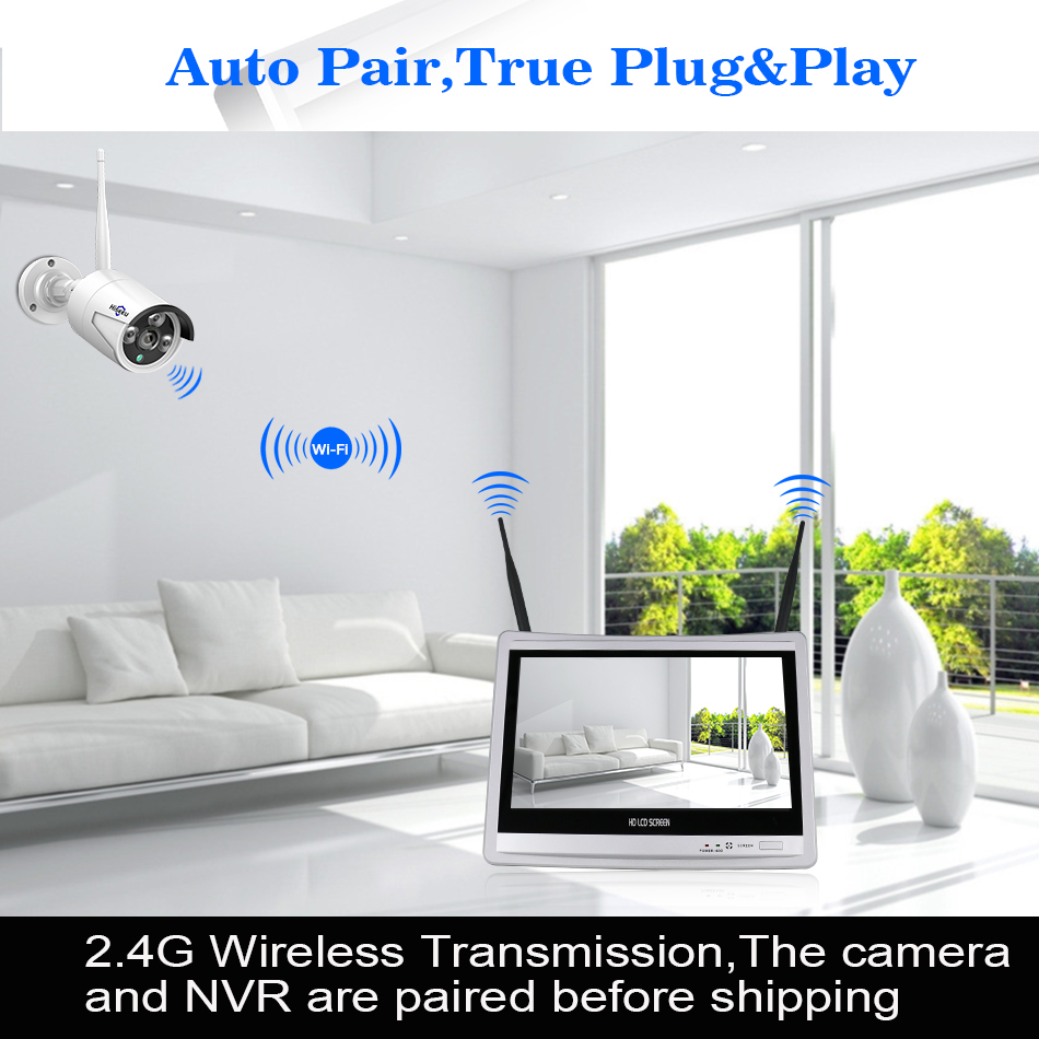 Hiseeu 12'' Displayer 4pcs 1080P Wireless CCTV IP Camera System 8CH NVR wifi video surveillance home Security System Kit