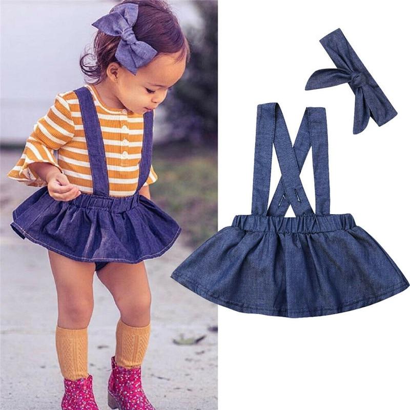 Children Kids Girls Embroidery Denim Shirt Skater Skirts Dress Outfit 2Pcs Set