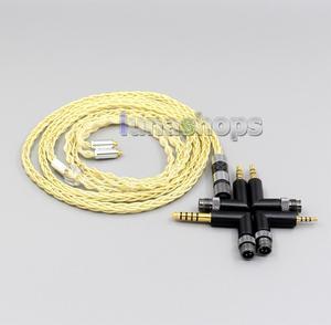 LN006218 4 в 1 разъем 8 Core чрезвычайно 7N OCC чистое серебро + позолоченный кабель для наушников для Shure se535 se846 se425 se215 MMCx