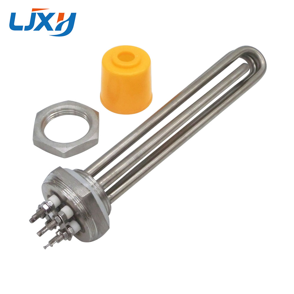 LJXH DN32 Heating Element 220V/380V for Water 1.2Thread Immersion Water Heater Tube 304 Stainless Steel with Locknut