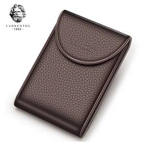 Image 2 - Laorentou Business Card Holder Genuine Leather Drivers license Case Holder Vintage Casual Clutch Card Position Purse for Men