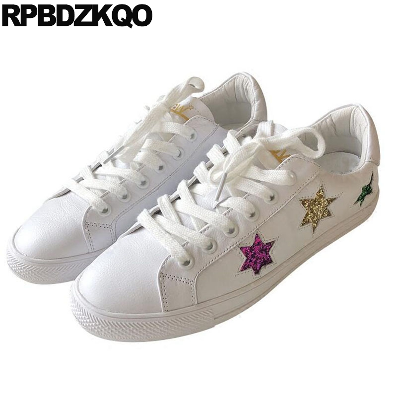 Genuine Leather Star White Flats Lace Up Women Sneakers Designer Glitter Autumn Spring Bling Sequins Single Shoes Casual Skate girls and ladies favorite white roller skates with full grain genuine leather dual lane roller skate shoes for adult skating
