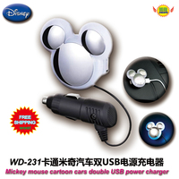 Car Accessories Cartoon Mickey Mouse Car Cigarette Lighter Socket Nightlights Dual USB Charger WD 231 Free