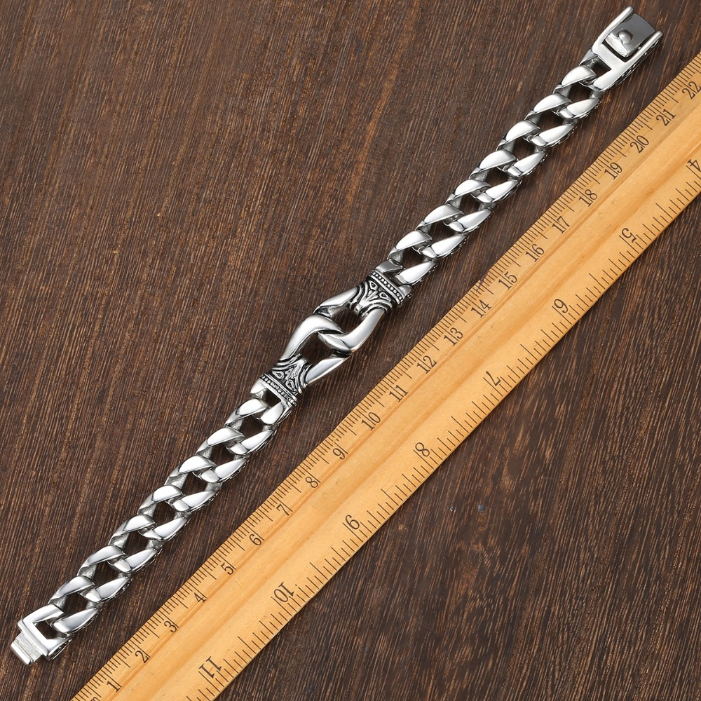 4bab9ccbecc14 Bracelet homme acier inoxydable 316L gourmette lien cubain Bracelet Totem  noeud charme Bracelet bijoux homme livraison directe cadeau pour hommes  HB10 dans ...