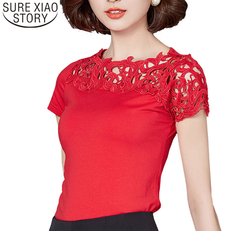 Women   blouse   and tops 2019 Lace Patchwork   Blouse     Shirt   Short Sleeve   Shirt   Elegant Ladies Tops Plus Size Womens Clothing 811 30
