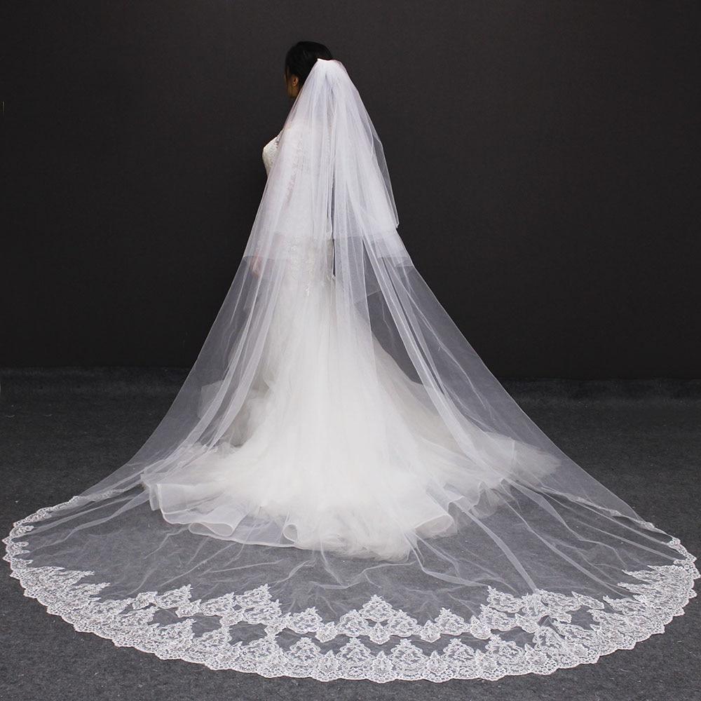 9919d6b67f Velos de novia 3 metros 2 T blanco y marfil lentejuelas Blings de espumosos  borde de encaje de Purfle largo Catedral velos de boda en Velos de novia de  ...