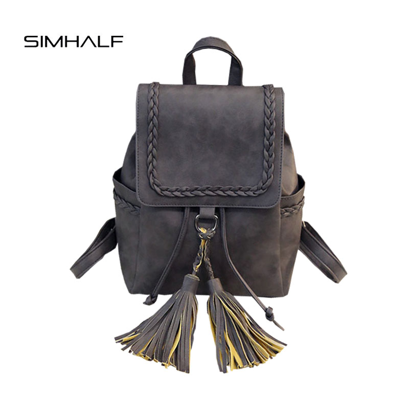 SIMHALF 2017 Fashion Women backpack Mochila Tassel shoulder bag female leisure college wind pumping Solid color