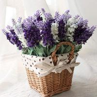 Home rattan square basket artificial flower lavender overall floral silk flower handmade living room table for decoration