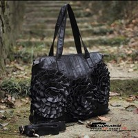 Genuine Leather Women S Handbag Large Size Patchwork Bag Female Sheepskin Flower Casual Shoulder Cross Body