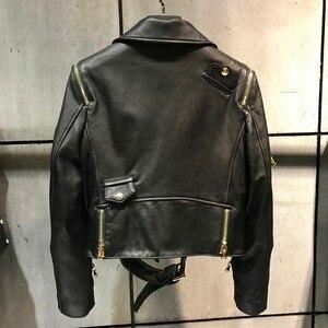 Image 2 - women quality genuine leather jacket fashion lady leather blazer plus size 5XL