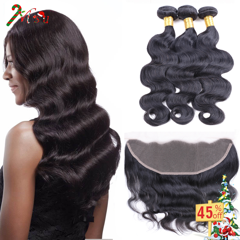 Brazilian Body Wave Lace Frontal Closure 3Bundlles Human Hair Weave With Ear To Ear Closure Annabelle