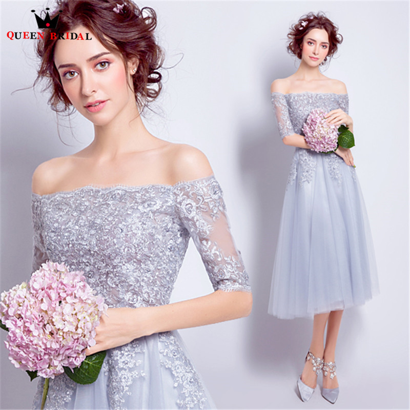 QUEEN BRIDAL   Cocktail     Dresses   A-line Tea Length Half Sleeve Lace Beading Short Party Gown 2018 Vestido De Festa JW50M