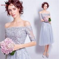 QUEEN BRIDAL Cocktail Dresses A line Tea Length Half Sleeve Lace Beading Short Party Gown 2018 Vestido De Festa JW50M