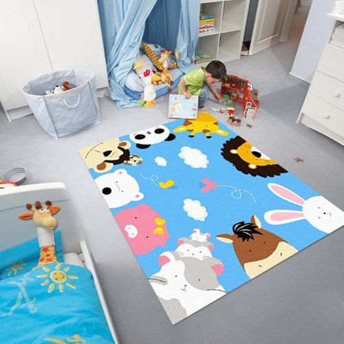 Kids Rugs Environmental Friendly Animals Cartoon Theme Kids Carpet for Home Living Room and Bedroom Floor Mats for Children