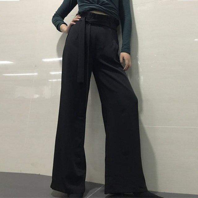Летние брюки Для женщин широкие штаны 2018 свободно сплошной Высокая талия на молнии прямой шнурок ботильоны-Длина хлопок белье мода