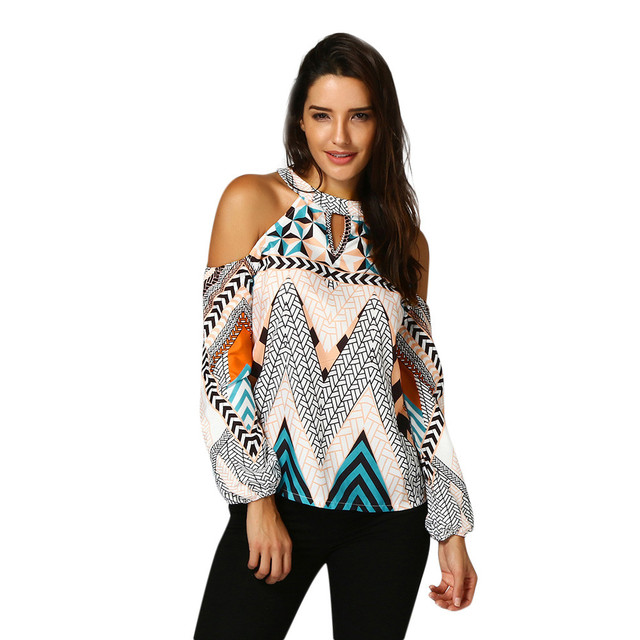 2345e49b02cdc Plus Size Womens Tops and Blouses Tunic Geometric Print Tee Shirts Cold  Shoulder Women Clothes mujer