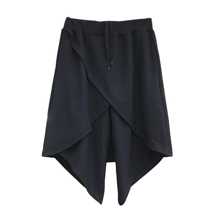 Long Kilt Punk Summer Men Shorts Black Hip Hop Harem Baggy Split Shorts Men Streetwear Cropped Ropa Hombre Gay Short Men 6D62