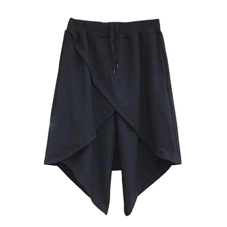 Lungo Gonnellino Punk Degli Uomini Di Estate Shorts Nero Hip Hop Harem Baggy Split Shorts Uomini Streetwear Ritagliata Ropa Hombre Gay Breve Uomini 6d62