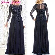 Элегантные темно-синие платья для матери невесты, шифоновые прозрачные платья с длинными рукавами, с прозрачным вырезом, с аппликацией из бисера, платье для выпускного вечера