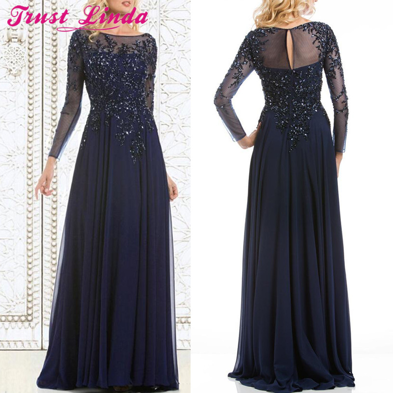 Top Selling Elegant Navy Blue Mother of The Bride Dresses Chiffon See Through Long Sleeves Sheer Neck Appliques Beaded Prom Gown