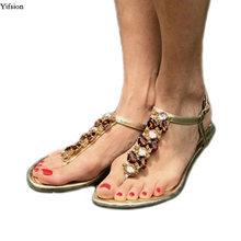 Olomm Women Flat With Gladiator Sandals Flip Flops Sexy Rhinestone Black Gold Beach Shoes US Plus Size 5-10.5