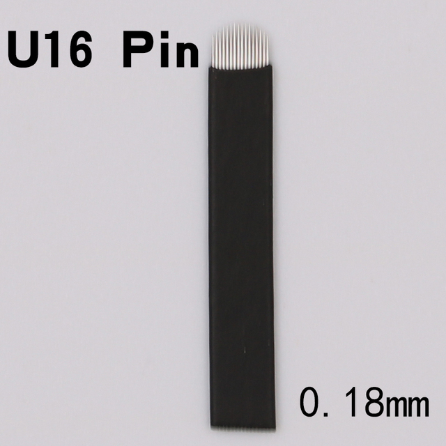 Free Shipping 50PCS 0.18mm U-Shape 16 pin Needle Eyebrow Makeup Manual Tattoo Blade For Permanent Microblading Embroidery Pen