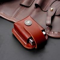 Firedog Cigarette Leather Lighter Holder Brown Lighter Case Box With Belt Loop Pouch Lighter Holder For Zippo Dupont