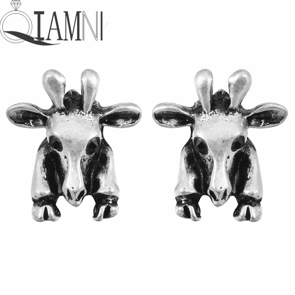 Qiamni Vintage New Style 1 Pairs 3d Cute Giraffe Animal Earrings For Women  And Girls(