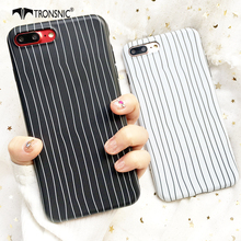 Tronsnic Stripe Phone Case For iPhone 7 7 Plus White Black Cute Soft Case For iphone 8 8 Plus Silicon Mobile Back Cover Bag Capa