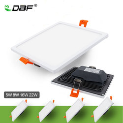 [DBF]Ultra thin Square LED Panel Downlight with AC85-265V Build-in LED Driver 5W 8W 16W 22W 4014SMD Ceiling Recessed Panel Light