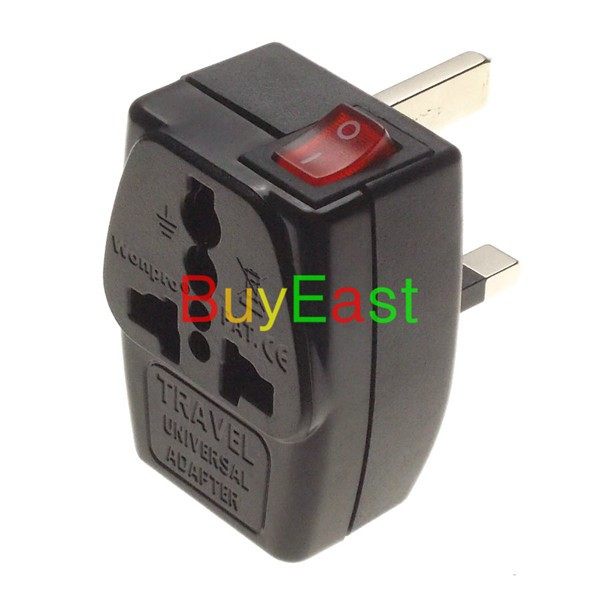 2 X Wonpro UK/Ireland/Malaysia/Singapore/Hongkong Travel Adapter Type G 2 Way Multi Outlet Adapter With LED Main Switch