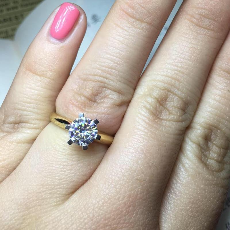 Veliki 95% OFF !! Izvorni prsten od žutog zlata od 18KRGP, 8 mm 2 - Modni nakit - Foto 5