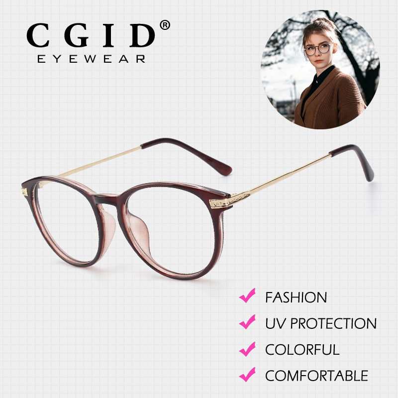 CGID Eyeglasses Oval Colorful Frame with 100%UV Protection Clear Lens  Glasses Fashion Designer New Arrivals for Women PG92-in Eyewear Frames from  Women's ...