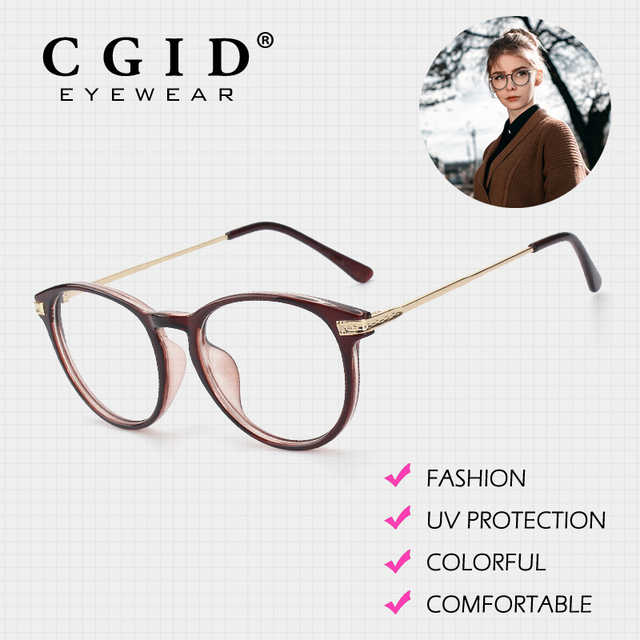 ebd7d350f3a CGID Eyeglasses Oval Colorful Frame with 100%UV Protection Clear Lens  Glasses Fashion Designer New