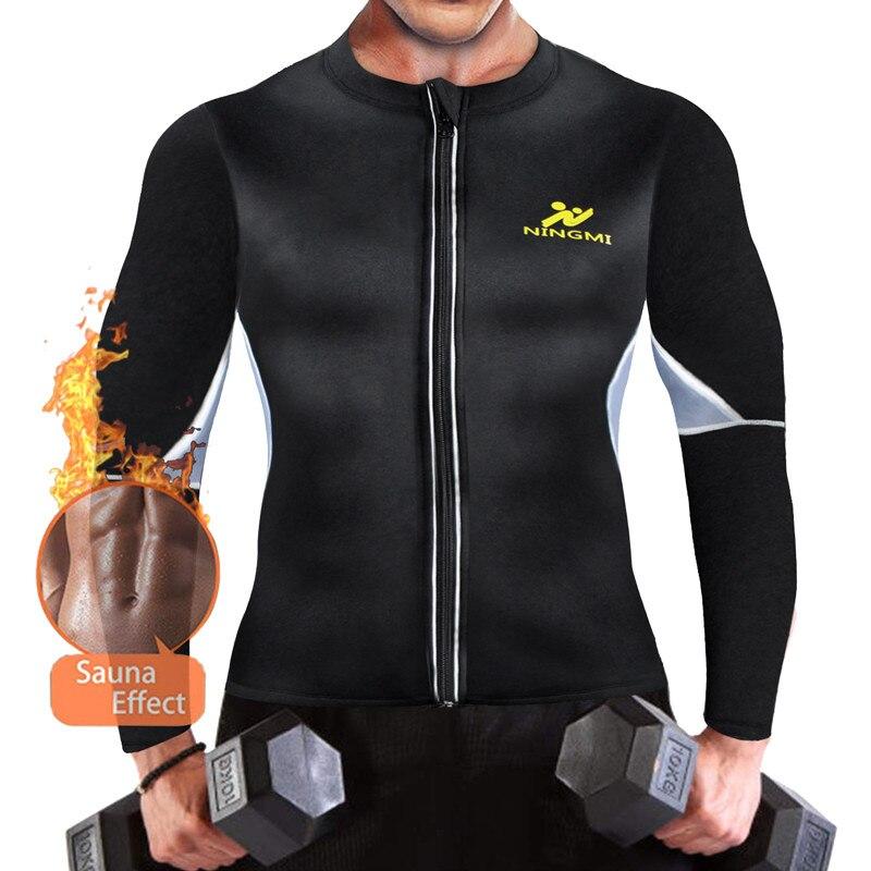 Ningmi camisas quentes dos homens jaqueta com luva longa fitness apertado perda de peso suor sauna treinador cintura corpo shaper neoprene tanque superior