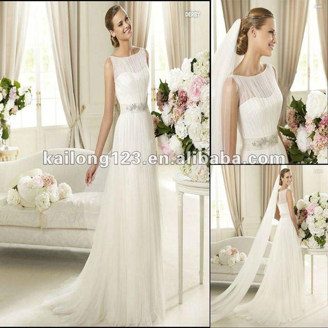 9168b4e233e Unique Sleeveless Round Neck A-line Sweep train Draped Beaded Tulle Wedding  Dresses