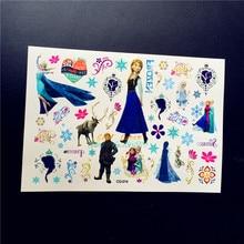Hielo Nieve Niña Princesa Elsa Anna Niños Etiqueta Engomada Del Tatuaje Temporal GCG-014 Frozen Kid Regalo de Navidad de Dibujos Animados Impermeable Pasta Tatoo