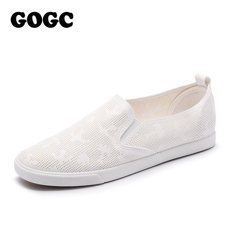 GOGC Brand 2018 Summer Women Shoes with Hole Breathable Slip on Footwear Flat Shoes Women Slipony Women Sneakers Vulcanize Shoes new women s vulcanize shoes spring summer slip on sneakers black casual shoes women breathable hollow out woman sneakers