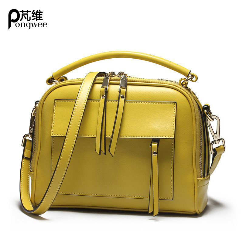 PONGWEE High Quality Genuine Leather Handbag Cowhide Women Shoulder Bags Candy Color Gifts Brand Designer Women Leather Bag luxury genuine leather bag fashion brand designer women handbag cowhide leather shoulder composite bag casual totes