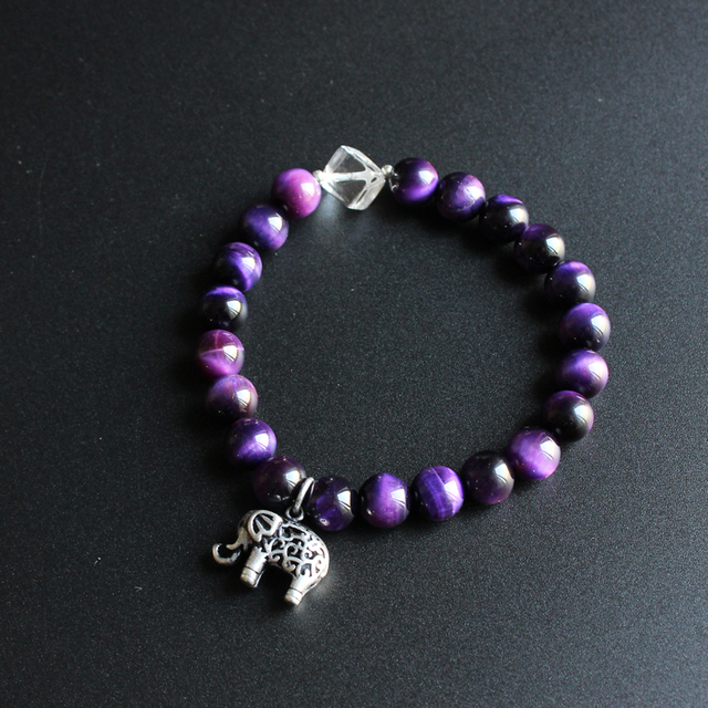 2017 Eastisan 8mm Ungu Violet Batu Beads Dengan Berongga Gajah Pesona Gelang Untuk Wanita Yoga Meditasi OM Perhiasan Unik hadiah