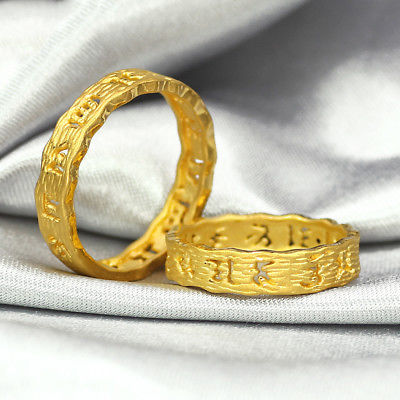Твердое кольцо из желтого золота 24 K 4 мм кольцо для буддийских слов Размер 6