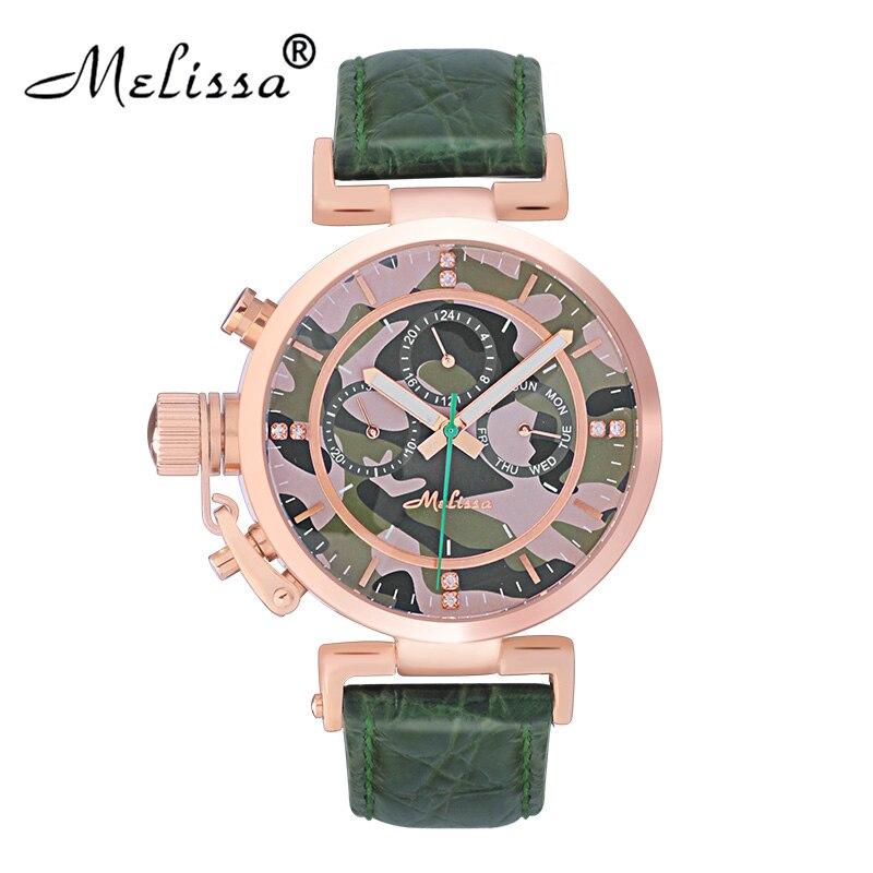 Melissa marque européenne populaire grande taille montres de style décontracté pour Femme Cool Camouflage Montre Quartz véritable cuir Montre-bracelet Montre Femme