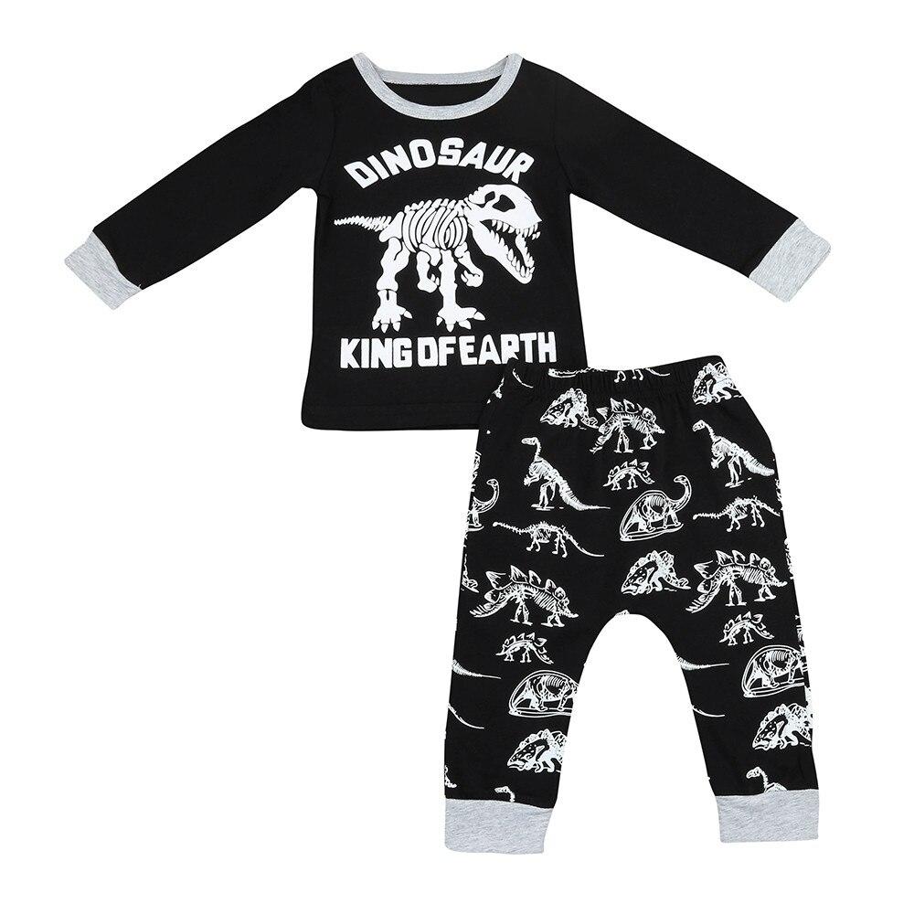 Muqgew 2 шт. Одежда для маленьких мальчиков и девочек из чистого хлопка с принтом динозавра комплект со штанами и футболкой Костюмы Одежда Roupa de ...