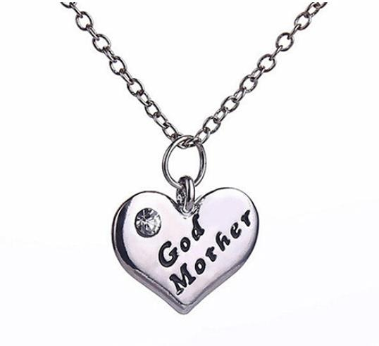 New Stlye Silver Love Heart Pendant Rhinestone Godmother Necklace Jewelry Mothers Day Mom Gift chain trinket gothic Dropship image