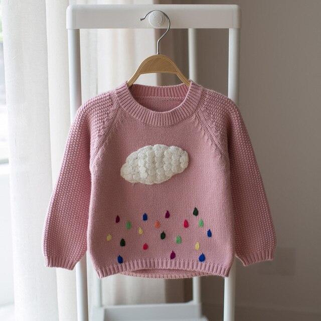 2017 детская хлопка с длинными рукавами свитер девушки мультфильм облака свитер младенческой ребенок милый ребенок свитер вязание свитера