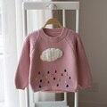 2017 algodão longo-sleeved camisola meninas das crianças dos desenhos animados nuvens camisola camisola do bebê da criança infantil bonito blusas de tricô