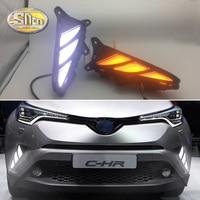 2pcs Car LED DRL for Toyota CHR C HR 2017 2018 Daytime Running Lights White Turn Signal Light Yellow Daylight Fog Lamps