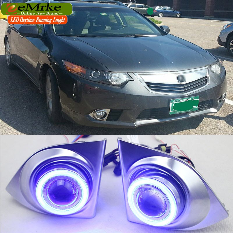 eeMrke COB Angel Eyes DRL For Acura TSX 2011 2012 2013 Accord Euro. Fog Lights H11 55W Halogen Bulbs Daytime Running Lights Kits eemrke for toyota vios yaris belta 2007 2013 led angel eye drl daytime running light halogen yellow h11 55w fog lights