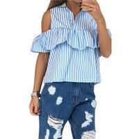 Fashion Cold Shoulder Striped Shirts Casual Flounces Turn Down Collar Plaid Shirt Tops For Women Ladies